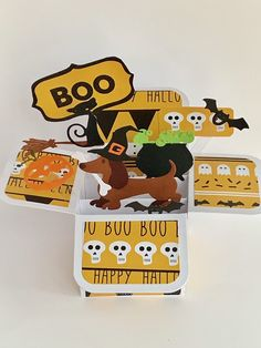Excited to share this item from my #etsy shop: Halloween Dachshund/Sausage Dog pop up card, 3D card, exploding card, handmade card, cauldron, bats, pumpkin, cat card Halloween Pop Up Cards, Halloween Themes, Pumpkin Cards, Cat Cards, Cellophane Bags, Cauldron, Bats, Dachshund, Sausage