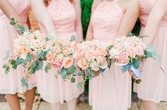 Petal on petal! David's Bridal bridesmaids in style f17020 | Photo: Catherine Crane