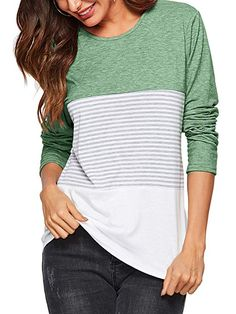 bbd4b44875 Amoretu Women's Long Sleeve Round Neck Striped Tops Casual Fit Tee Shirts  Green S