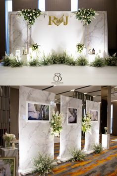 Top photo could be opportunity to cover wall between catering prep area and event space Wedding Backdrop Design, Wedding Stage Design, Wedding Hall Decorations, Wedding Reception Backdrop, Backdrop Decorations, Backdrops, Wedding Photo Walls, Wedding Wall, Wedding Arbors