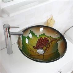 (EU Lager)Modern Glas Waschbecken Rund Weintraube Design