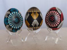 Polish Pysanky Decorated Chicken Eggs Artwork of