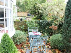 Enjoy dining outdoors in the private courtyard garden of our Wellesley property in Chelsea, London.