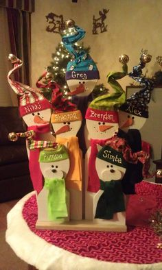 Wooden Snowman Family 2 Groupings for Stacey by NanasWoodshop