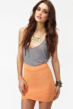 Tulip Bandage Skirt in Tangerine