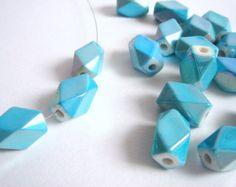 Aqua Blue Geometric  Beads, acrylic Beads,  Geometric Jewelry,Do it Yourself Geometric necklace