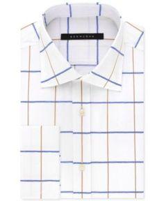 Sean John Men's Classic/Regular Big and Tall Fit White Print French Cuff Dress Shirt - Tan/Beige 22 37/38
