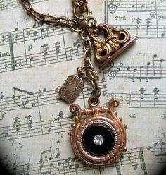 Victorian Trio Charm Necklace With Onyx Double Sided Fob, Fob Seal and Locket on Antique Watch Chain