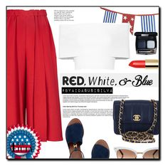 """""""Red, White and Blue Fashion"""" by aidasusisilva ❤ liked on Polyvore featuring Victoria Beckham, Chanel, Tory Burch, Crate and Barrel, Rosetta Getty, Tiffany & Co., Gucci, redwhiteandblue and july4th"""