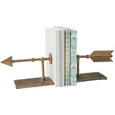 Archer Bookend Set ($48) ❤ liked on Polyvore featuring home, home decor, small item storage, decor, filler, iron home decor, iron bookends, inspirational home decor and arrow home decor