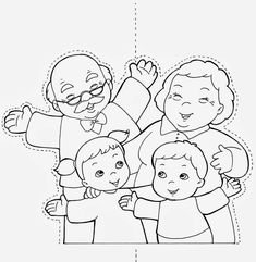 Grandparents Day Crafts, Mothers Day Crafts, Coloring Sheets For Kids, Animal Coloring Pages, Kindergarten Drawing, Family Theme, Grands Parents, Doodle Designs, Autumn Activities