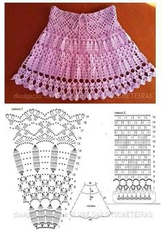 Crochet skirts, Crochet and Patterns If you are looking for a pattern to make a crochet skirt for your kid, you can use this one. Crochet skirts are very stylish and pretty. Débardeurs Au Crochet, Crochet Diagram, Crochet Woman, Crochet Chart, Crochet For Kids, Crochet Solo, Filet Crochet, Crochet Stitches Patterns, Crochet Designs