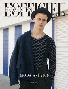 A full Giorgio Armani Fall Winter 2016-17 look featured on the cover of L'Officiel Hommes Italia.