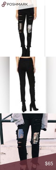 LF Carmar black ripped jeans with sequin These jeans are awesome and make an entire outfit. I only wore them once in the picture. They are black ripped Carmar jeans from LF with sequence to make it look rock 'n roll! LF Jeans Ankle & Cropped