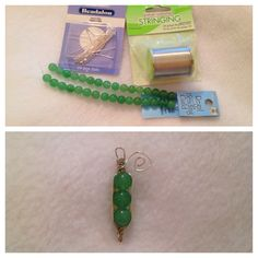 "Try #1 on this charm took about 5-8 minutes to complete. I followed a previous pin in my DIY section (www.heidishubbub.blogspot.com). I used ""Beadalon"" 1.97 in silver plated headpin, ""Jewelry Essential's Stringing"" 24 gauge bead wire, and ""Regal Beading Guild"" glass beads. --Courtney 5/10/2012"