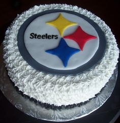 Pittsburgh Steelers cake...buttercream icing with fondant accents