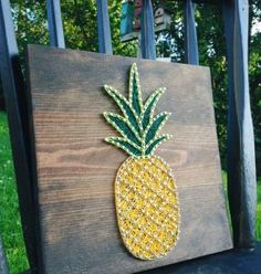 String Art string art Pineapple Pineapple String by GrizzlyandCo Summer Crafts, Diy And Crafts, Arts And Crafts, String Art Diy, Paper Cactus, Wood Nails, Thread Art, Craft Night, Wooden Signs