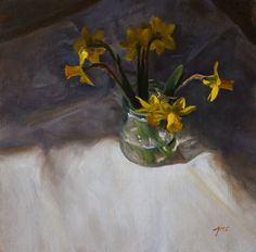 still life paintings from internationally exhibited British still life painter Julian Merrow-Smith. Vibrant contemporary still life and landscape paintings from the artists studio in Provence. Painting Still Life, Still Life Art, Still Life Flowers, In Season Produce, Pictures To Paint, Paintings For Sale, Daffodils, Flower Art, Landscape Paintings
