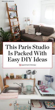 Studio Apartment Layout, Small Studio Apartments, Studio Apartment Decorating, Diy Apartment Decor, Cheap Apartment, Diy Home Decor, Tiny Studio, Studio Apt, Studio Apartment Living