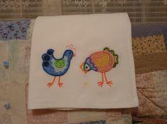 Embroidered Applique Chickens Flour Sack Towel