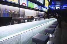 Bancone per bar / in vetro / luminoso - by Paolo Viera - ThinkGlass