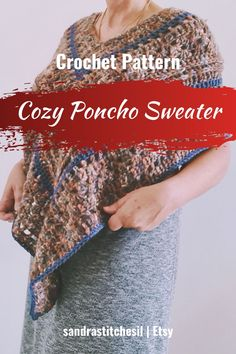 This crochet Poncho Sweater pattern includes a written pattern as well as photios to maximize your experience. It is A Unisex Pattern with a 70s Hippie Style. Have fun making and wearing this piece or gift it to a friend! Be sure to follow on Instagram and check out my Etsy @SANDRASTITCHESIL Beginner Crochet Projects, Crochet For Beginners, 70s Hippie, Hippie Style, Crochet Poncho, Poncho Sweater, Easy Crochet Patterns, Sequin Skirt, Sequins