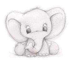 Cute Elephant by Clare Thompson - .-Niedlicher Elefant von Clare Thompson – Cute elephant by Clare Thompson – – - Pencil Sketch Drawing, Pencil Art Drawings, Cool Art Drawings, Fun Easy Drawings, Cute Drawings Tumblr, Simple Cartoon Drawings, Simple Disney Drawings, Simple Doodles Drawings, Kid Drawings