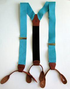 Polo Ralph Lauren Classic Blue Silk Twill Leather Brass Mens Suspenders Braces