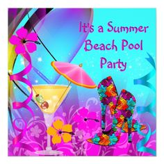 Summer Pink Teal Beach Cocktail Party Card
