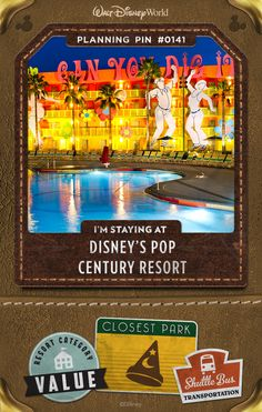 Walt Disney World Planning Pins: Experience the unforgettable fads of the 1950s through the 1990s all over again. From yo-yos and Play-Doh® to Rubik's Cube® and rollerblades, this Resort hotel salutes the timeless fashions, catch phrases, toys and dances that captivated the world through the decades.