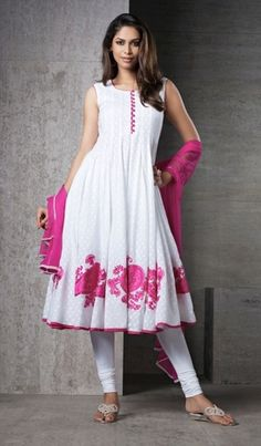 White & Pink Color Cotton Jacquard Material Casual Wear Salwar Suit