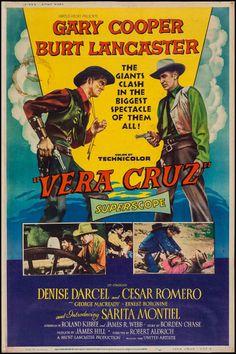 "Vera Cruz (United Artists, 1954). Poster (40"" X 60""). Western. Starring Gary Cooper, Burt Lancaster, Denise Darcel, Cesar Romero, Sara Montiel, Ernest Borgnine, Charles Bronson, Jack Elam, and George Macready. Directed by Richard Aldrich."