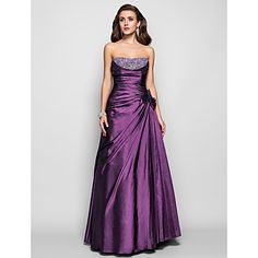Prom / Formal Evening / Military Ball Dress - Open Back Plus Size / Petite A-line / Princess Strapless Floor-length Taffeta withBeading / – USD $ 169.99