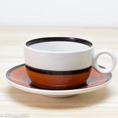 グスタフスベリ/アレナ/コーヒーカップ&ソーサー(1)/オレンジ 北欧ファンの憧れの陶器メーカーのGustavsberg/グスタフスベリ、ARENA/アレナのヴィンテージです。 言わずと知れたスウェーデンの有名デザイナー、stig Lindberg/スティグ・リンドベリ氏が1973年から78年にデザインした名作です。