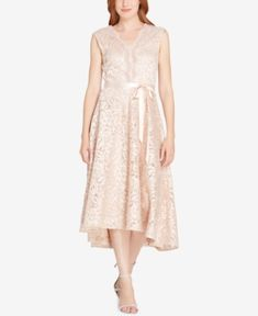 Tahari Scalloped Embroidered Lace Dress Cloth