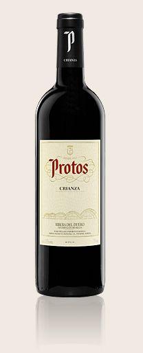 Protos  Crianza    El tiempo de espera para disfrutar de este vino es de 26 meses: 14 meses en barrica de roble americano y francés, y otros 12 en su propia botella.    Elaborado con uva 100% Tinta del País (Tempranillo)