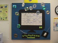 Bulletin Board Idea: Computer Lab Bulletin Board with calendar! Simply swap out the calednar and month for a bulletin board that is useful all year long.                                                                                                                                                     More