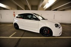 How to stand out in a sea of white cars? The two Dotz teamrider Alex Koch and Daniel Beck prove it with a Polo GTI and a Skoda Superb. Vw Polo Modified, Volkswagen Polo, Car Goals, Kendo, Car Tuning, Cars And Motorcycles, Two By Two, Dark, Vehicles