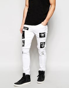 ASOS Super Skinny Jeans With Patches