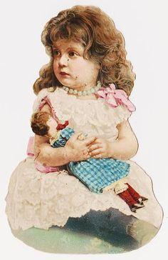 Victorian Die Cut Scrap - Child with Doll