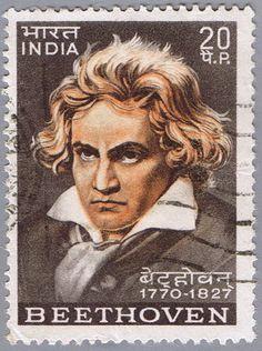 INDIA - CIRCA 1970: A stamp printed in India shows Ludwig van Beethoven, circa 1970.  Copyright: brandonht