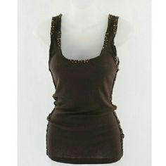 J. Crew Ribbed Tank with Beaded Trim 100% cotton. Beading along sides, neck, and shoulders. Very soft. J. Crew Tops Tank Tops