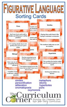 Figurative Language Sorting Cards free from The Curriculum Corner similes metaphors personification idioms alliteration hyperbole onomatopoeia puns oxymorons Teaching Poetry, Teaching Language Arts, English Language Arts, Language Activities, Teaching Reading, Speech And Language, Teaching Ideas, Teaching English, Idioms Activities