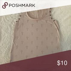 Express burnout studded Cross top S EUC! Flesh colored tank with cross detailing. Crosses are see-thru. Silver stud detailing on the straps. Size small. Express Tops Tank Tops