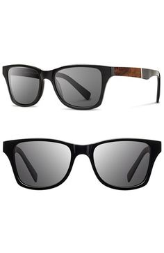 Men's Shwood 'Canby' 53mm Wood Sunglasses - Black/ Elm Burl/ Grey