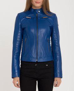 Ducky Leather Jacket in Blue Lambskin Leather, Leather Jacket, Run 2, Saint Laurent, Zip, Jackets, Blue, Fashion, Leather Jackets