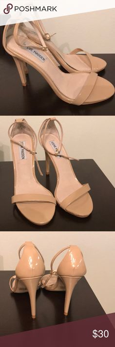 Steve Madden Nude Sandal Pumps Size 7 nude pumps with ankle straps. Worn only once Steve Madden Shoes Heels