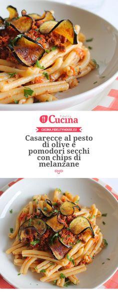 Casarecce al pesto di olive e pomodori secchi con chips di melanzane