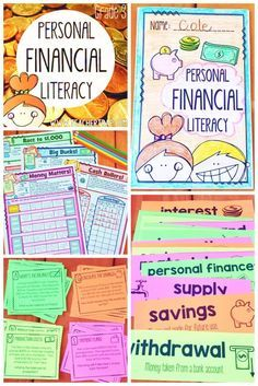 Personal Financial Literacy Pack for Grade! Lessons, resources, games, and tools for mastering the personal financial literacy math standards. *There is also a Second Grade Personal Financial Literacy Unit. Grade Teachers looking f Classroom Economy, Math Classroom, Classroom Ideas, Classroom Displays, Teaching Economics, Teaching Math, Economics For Kids, Economics Lessons, Teaching Money