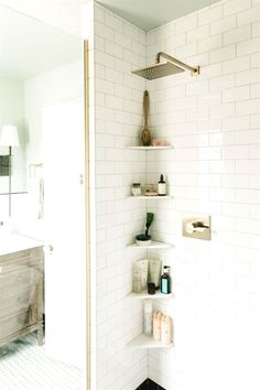 10 Best Simple Space Saving Bathroom Solutions Small bathroom storage Bathroom ideas small Bathroom shelves Storage ideas for small spaces Bathroom organization ideas Towel storage Small Bathroom Shelves, Shower Shelves, Simple Bathroom, In Shower Storage, Navy Bathroom, Shower Rack, Bath Shower, Brown Bathroom, Small Shelves